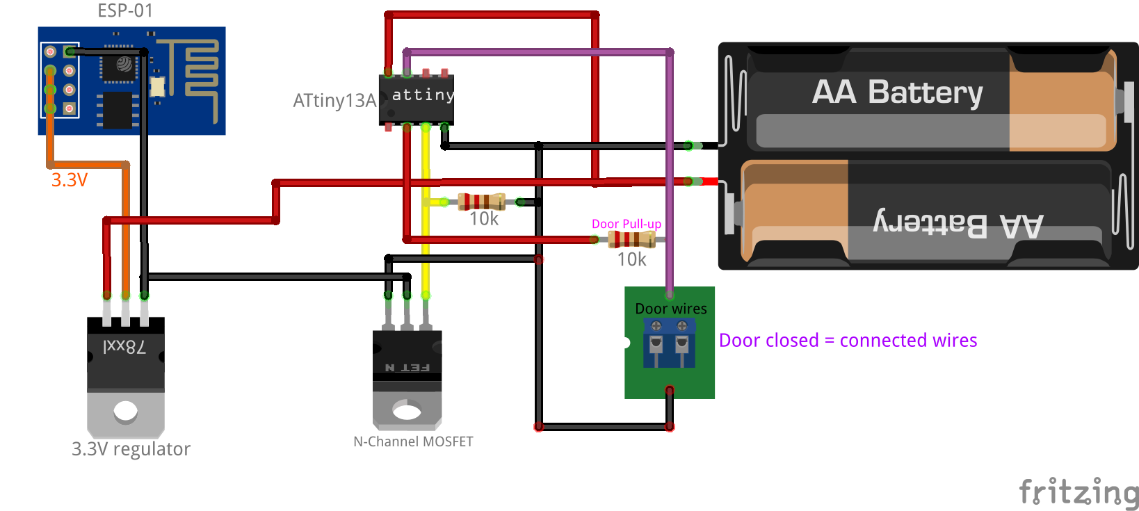 Open Circuit Closed Project Ask Answer Wiring Diagram Fridgedoor Alarm Eeweb Community Battery Powered Esp8266 Iot Door Sensor Home Circuits And